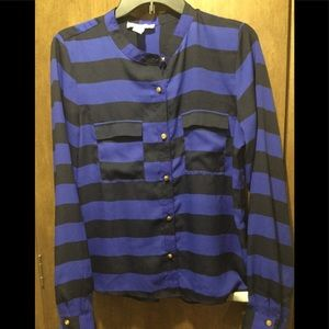 Forever 21 Royal blue and black stripped blouse.